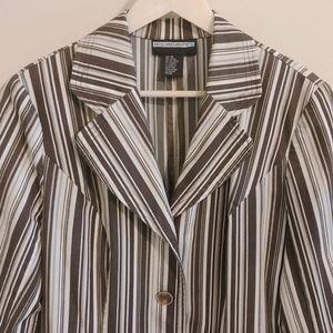 Long Sleeve Notched Lapel Button Striped Blazer